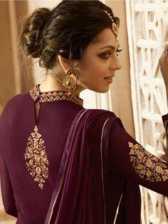 Buy Drashti Dhami Wine color georgette wedding anarkali in UK, USA and Canada Designer Suits Online, Indian Designer Suits, Designer Dresses, Kurti Neck Designs, Salwar Designs, Pakistani Dresses, Indian Dresses, Embroidery Suits Punjabi, Drashti Dhami