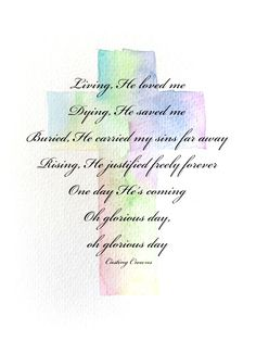 Christian watercolor art with song Casting Crowns lyrics celebrating the resurrection of Jesus this Easter morning