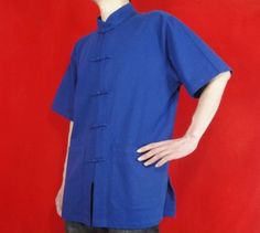 Wholesale Blue Cotton Kungfu Martial Art Tai Chi Clothing Shirt #123 in Just  USD $44.87.