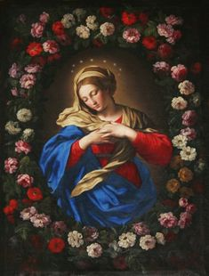 Our Lady in a Garland of Roses century) by Giovanni Battista Salvi da Sassoferrato, portraying the Madonna with both a crown of stars and a rose wreath Catholic Religion, Catholic Art, Religious Art, Catholic Store, Blessed Mother Mary, Blessed Virgin Mary, Hail Holy Queen, National Gallery, Queen Of Heaven