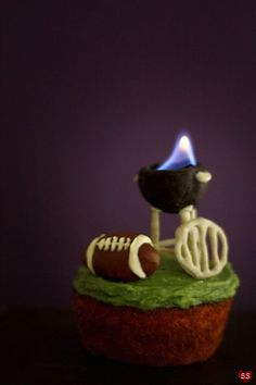 SO awesome!! That little grill is actually on fire! It's a beer spice cupcake with matcha frosting!