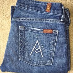 """7 For All Mankind Jeans A Pocket Flip Flop 29 x 30 Tag Size - 29 Waist Measured Across - 16"""" Inseam - 30"""" Rise - 8"""" Good used condition. 7 for all Mankind Jeans Boot Cut"""