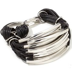 "Stately Steel Multistrand Black Cord 7-1/2"" Bracelet at HSN.com"