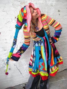 super funkadelic blindingly rainbow ridiculous coat by katwise