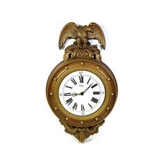 Vintage Wall Clock with Federal Eagle Design, Large Gold Wall Decor Clock