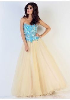 Sweetheart Floor Length Yellow Tulle A Line Prom Dress