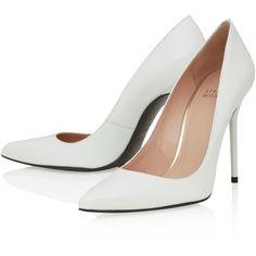 Stuart Weitzman White Nouveau Leather Stiletto Pumps ($140) ❤ liked on Polyvore featuring shoes, pumps, heels, sapatos, leather sole shoes, stiletto heel pumps, stiletto pumps, pointy-toe pumps and white shoes