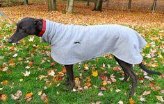 Greyhound Happy's Fleece Jacket in light gray by handmade4hounds