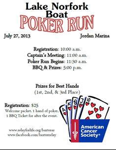Come out and support the Lake Norfork Boat Poker Run supporting the American Cancer Society on July 27th.