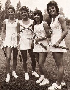 Great ladies from the Virginia Wade, Evonne Goolagong, Rosie Casals and Billie Jean King Shop top at The Tennis Shop at Tennis Outfits, Tennis Dress, Tennis Clothes, Nike Clothes, Le Tennis, Sport Tennis, Tennis Shop, Billie Jean King, Tilda Swinton