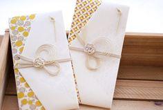 冠婚葬祭で使用される場合には、一度で良いことなら「結びきり」、何度あっても良いことは「蝶結び」など、形や本数に意味を持たせた「水引」が使用されます。 Japanese Colors, Japanese Modern, Wedding Envelopes, Wedding Cards, Asian Cards, Japanese Packaging, Red Packet, Paper Cut Design, Weaving Designs