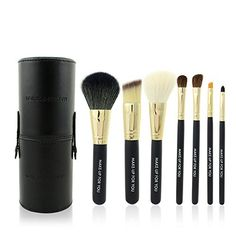 Luxury 7 Pieces Professional Cosmetic Makeup Brush Set PU Leather Circle Holder Black ** You can get additional details at the image link.