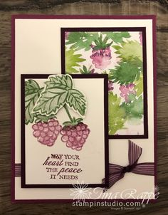 Berry Blessings Card Set - Stampin' Studio Thank You Cards, Blessings, Card Stock, Stampin Up, Birthday Cards, Blessed, Banner, Studio, Catalog