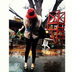 Via Instagram user @wolfcubcait  Puddle-jumping earlier today with @Audrey Dunne at Shady! #ootd #ootn #vintage #fur #lookbook #mermaidhair #SHOESFORCREWS