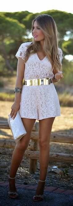 Sandy White Lace Jumpsuit With Gold Belt Style Inspiration Apparel Clothing Design #UNIQUE_WOMENS_FASHION