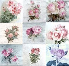 9 Single Different Lunch Paper Napkins for Decoupage Craft Party Sagen Roses