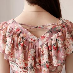 2018 Fashion Summer Blouses Women Shirts Plus Size Floral Tops Ladies Short Sleeve Chiffon Blusas Feminina Ruffled Blouse Mujer _ - AliExpress Mobile Version - Neck Designs For Suits, Dress Neck Designs, Designs For Dresses, Blouse Designs, Dress Sewing Patterns, Blouse Patterns, Stylish Dresses, Fashion Dresses, Fashion Blouses
