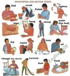 Housework and Repair Verbs English Idioms, English Writing, English Study, English Class, English Vocabulary, English Grammar, Teaching English, English Language, English Tips