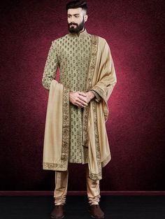Latest Designer Wedding Sherwani Patterns for Indian Groom - LooksGud. Sherwani For Men Wedding, Wedding Dresses Men Indian, Wedding Outfits For Groom, Groom Wedding Dress, Sherwani Groom, Mens Sherwani, Wedding Men, Sister Wedding, Wedding Ideas