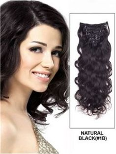 16 Inches Wavy Natural Black  #1B  7PCS  Clip in Remy Human Hair Extensions