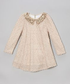 Take a look at this Rose & Gold Sequin Collar Dress - Toddler & Girls by Fouger for Kids on #zulily today!