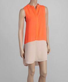 Loving this Papaya & Ivory Sleeveless Shift Dress on #zulily! #zulilyfinds