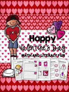 Valentine's Day Packet: 70+ pages of activities, printables, and worksheets that cover reading comprehension, writing, spelling, math, and science skills! (Common Core Aligned) UPDATED
