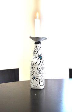 Painted bottle candle holder. Bottle Candles, Candle Holders, Art, Art Background, Kunst, Porta Velas, Performing Arts, Candlesticks, Art Education Resources