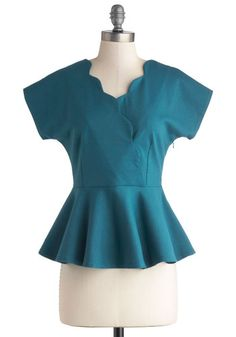Pond Promenade Top by Myrtlewood - Private Label, Mid-length, Knit, Blue, Solid, Scallops, Work, Peplum, Short Sleeves, Blue, Short Sleeve, ...