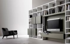 140 Libreria Soggiorno Moderno - libreria bianca da ... Tv Wall Cabinets, Ikea, Tv Decor, Home Decor, Entertainment Wall, Tv Furniture, Built In Shelves, Living Room Inspiration, Designer