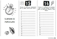 >ici< 15 listes à remplir en attendant la fin des classes. A partir du 15e jour avant le fin des classes, une liste est distribuée et remplie chaque jour. A la fin les listes sont assemblées... High School French, French Class, French Teacher, Teaching French, Bulletins, French Immersion, End Of Year, Daily 5, Learn French