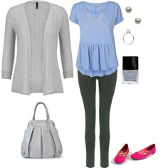Grey, Blue, and Fuchsia by ashleyrombs on Polyvore featuring Vero Moda, J Brand, TSM The Swedish Model, Belpearl, Trollbeads, Chaps and Butter London