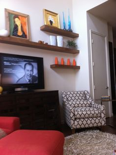 Shelving idea for tv wall to compliment mantle
