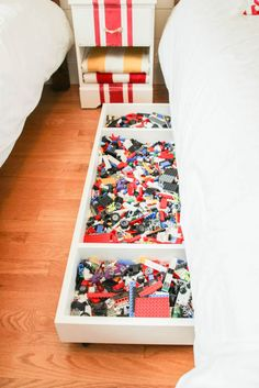 how to make a DIY Under Bed Rolling Lego Storage Cart at thehappyhousie.com
