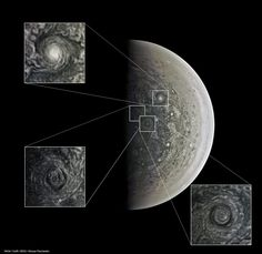 JunoCam STUNNING VORTICES OF JUPITER'S SOUTH POLE 2016-09-12 : NASA/SwRI/MSSS/ Roman Tkachenko