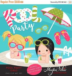 Pool Party Clipart for Girls. Little girls with pool party banner, flip flops, fruit drinks, sunglasses, umbrella and pool summer cliparts by MUJKA on Etsy https://www.etsy.com/uk/listing/280824804/pool-party-clipart-for-girls-little