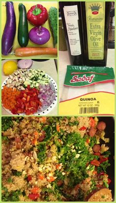 Quinoa, Kale and Sauteed Veggies Salad. Delicious served hot or cold.
