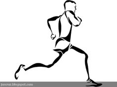 Runner Silhouette line art.  Free for personal use.