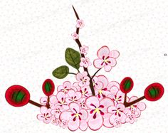 Cherry Blossom Vector, Scrapbook Borders, Frame Template, Borders And Frames, Painted Flowers, Vector Clipart, Flourish, Tree Branches, Red And Pink