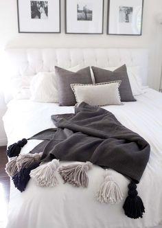 DIY tassel blanket for guest room but in indigo and fuchia. Diy Tassel, Tassels, Master Bedroom, Bedroom Decor, White Bedroom, Cozy Blankets, New Room, Luxury Bedding, Diy Design