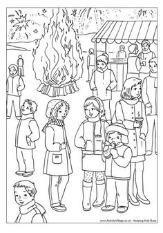 Bonfire Night colouring page