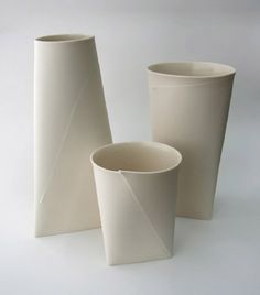 "Folded ""A"" Vases by Romi Ceramics"