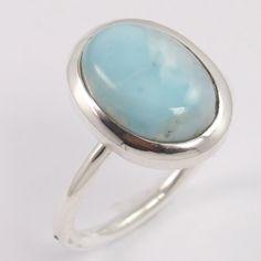 925 Sterling Silver Ring Size US 7.75 Natural LARIMAR Oval Gemstone Manufacturer #Unbranded