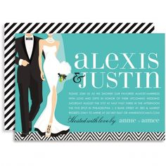 The B+W Wedding Couple Blue Invitation by Doc Milo has a stunning bride and groom dressed in their wedding threads looking stunning and sophistcated. The fun black and white striped diagonal print across the back of this bridal shower invitation adds some extra fun too.