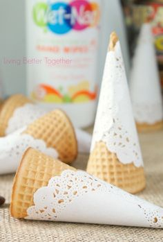 DIY Doily Wrapped Sugar Cones