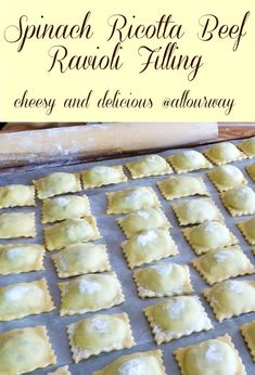A cheesy beef spinach filling that can be used for ravioli or other pasta such as manicotti or large shells. Makes a lot so you have plenty for all of your favorite filled pastas. You can even use it for lasagna. #raviolifilling, #pastafilling, #beefcheesepastafilling, #spinachcheeseraviolifilling, #manicottifilling, #rusticravioli, #italianravioli, #lasagnafilling Spinach And Cheese Ravioli, Spinach Ricotta, Mushroom Ravioli, Goat Cheese, Beef Ravioli Filling Recipe, Paleo Ravioli, Homemade Ravioli Filling, Ravioli Ricotta, Ravioli Lasagna
