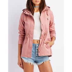 Charlotte Russe Hooded Anorak Jacket ($37) ❤ liked on Polyvore featuring outerwear, jackets, mauve, twill anorak jacket, anorak jacket, zip jacket, hooded jacket and anorak coat