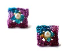 #crochet granny square earrings from Etsy's NothingButString