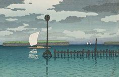 "Japanese Art Print ""Shinagawa (Shinagawa Oki)"" from the Series ""Twelve Subjects of Kyoto"" by Kawase Hasui. Shin Hanga and Art Reproductions http://www.amazon.com/dp/B00YSJNEL6/ref=cm_sw_r_pi_dp_Ii9twb12VS1S8"