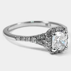 Platinum Harmony Ring // Set with a 0.73 Carat, Cushion, Ideal Cut, F Color, VVS2 Clarity Diamond #BrilliantEarth
